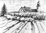 landscape artist, landscape art, landscape in portrait, portrait of landscape in pencil, landscapes, lighthouses